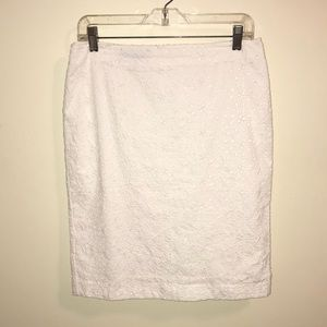 Talbots white eyelet pencil skirt